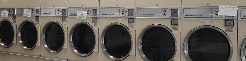 row of washers out of order. equipment care procedures