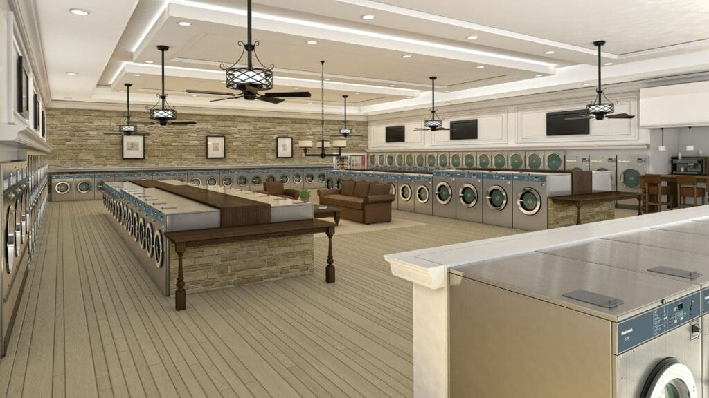 Modern commercial laundromat startup with Huebsch