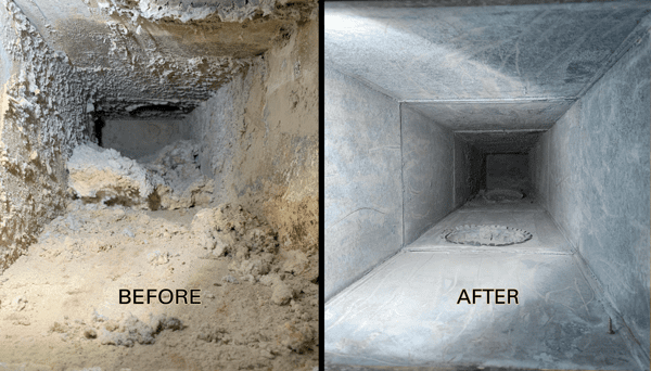 Laundry Duct Cleaning Before and After Photo