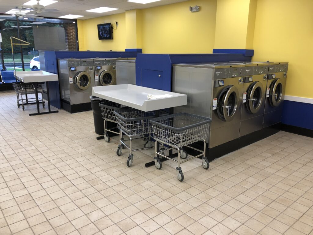 laundry cards and folding area